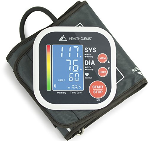 Health Gurus Professional Upper Arm Blood Pressure Monitor with Easy-to-Read Backlit LCD, One-Size-Fits-All Cuff and Nylon Storage Case by Greater Goods