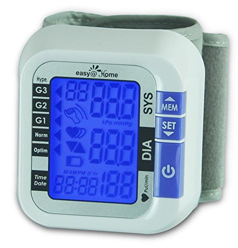 Easy@Home Digital Wrist Blood Pressure Monitor with Heart Beat / Pulse Meter Function - FDA Approved For OTC Use BP Monitor with Carry Case and Battery, Backlit Large Display, EBP-017