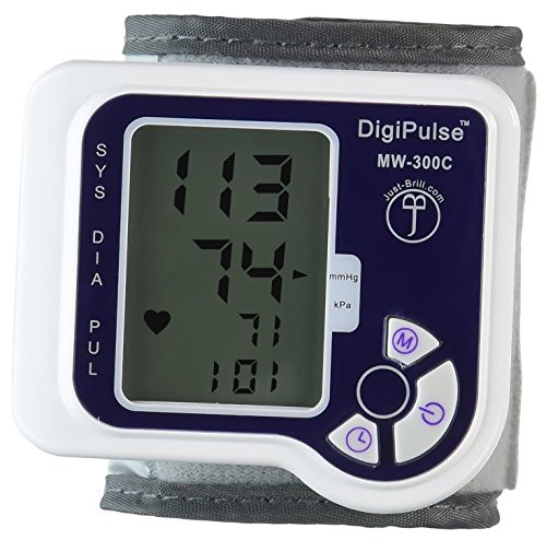 Blood Pressure Wrist Monitor Automatic Digital Sphygmomanometer - BP Machine Measures Pulse, Diastolic and Systolic - High Accurate Meter Best Reading High Normal and Low DigiPulse by Just-Brill
