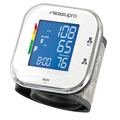 MeasuPro Digital Wrist Blood Pressure Monitor with Heart Rate Meter, Hypertension Color Alert Display, Two User Modes, IHB Indicator and Memory Recall