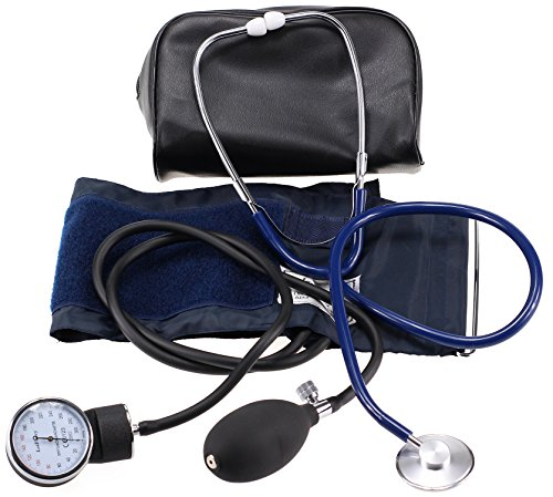 LotFancy FDA Approved Blood Pressure Gauge Aneroid Sphygmomanometer and Stethoscope Kit with Zipper Case