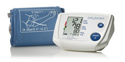 LifeSource Advanced One Step Auto Inflate Blood Pressure Monitor with Medium Cuff (UA-767PV) Product Shot