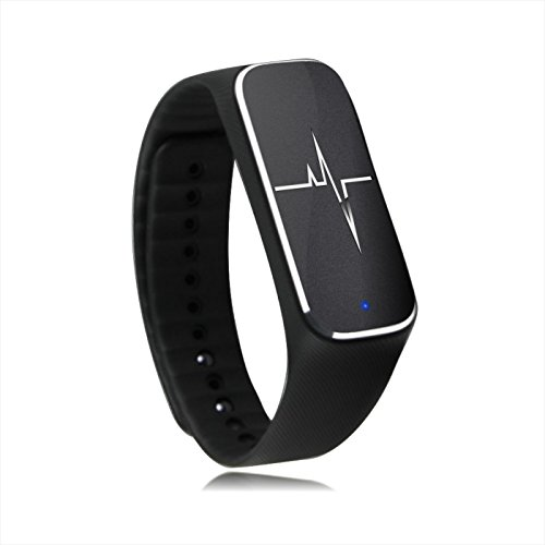 Padgene Smart Health Partner, Bluetooth Sport Tracker Bracelet With Step motion Meter, Sleep, Mood, Heart Rate, Breath Rate, Fatigue State, Blood Pressure Functions For IOS and Android Devices, Black