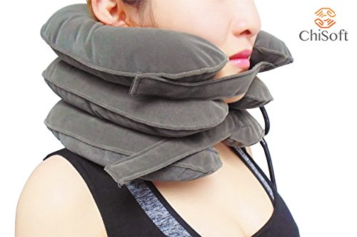 No1. Doctors Recommeded Neck Traction Device -ChiSoft® Cervical Traction Device - Newly Designed Bigger Pump, Extended Velcro, Premium Quality (Grey)