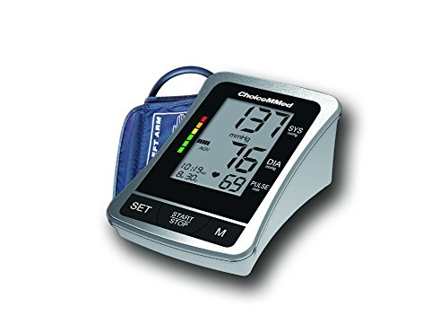 ChoiceMMed Silver Digital Upper Arm Blood Pressure Monitor (BP Monitor) with FDA/CE/FCC Certificates Approved Superior Quality Guaranteed (Medium)