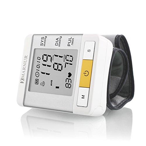 Blood Pressure Monitor, Marnur Wrist Digital Blood Pressure Cuff Pulse Rate Monitor with Large LCD Display, FDA Approved (White)