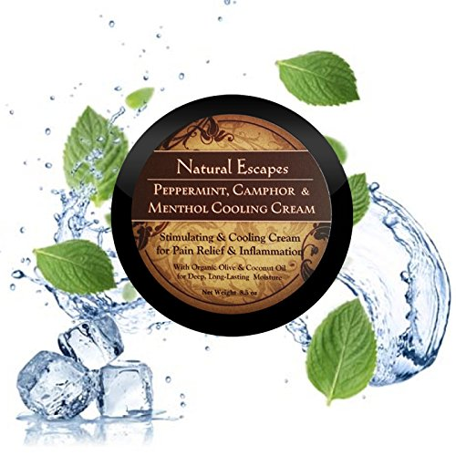 Peppermint & Menthol Cooling Cream w/ Camphor. Stimulating & Cooling Deep Moisturizer for Pain Relief & Inflammation. Organic formula never tested on animals! Large 8oz Size!