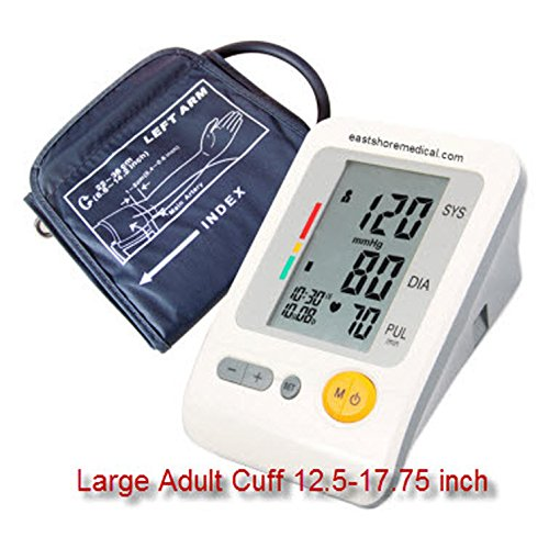 EastShore  Arm Digital Blood Pressure Monitor With Large Cuff Fit Arm Circumference Upto 17.7 Inch . 120 Memory ,Irregular Heart Beat detector, Jumbo LCD