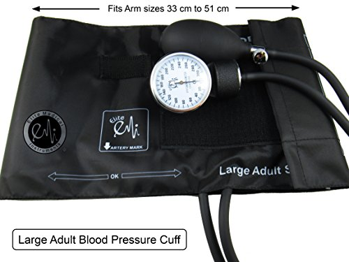 EMI Manual Blood Pressure Cuff - Black Plus Carrying Case (Large Adult (33 cm to 51 cm))