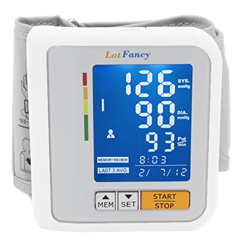 LotFancy Blood Pressure Monitor Wrist Cuff - Digital Automatic BP Machine with Irregular Heartbeat Detector - Most Accurate & Portable for Home Use - 2 User Mode, Slim 2.3