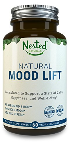 Natural Mood Lift - Relaxes Mind & Body, Calms, Boosts Serotonin, Reduces Anxiety   Nested Naturals   3rd Party Tested, Vegan, Non-GMO - Made with 5-HTP, Magnesium, L-Methionine, Vitamin B5 & B6