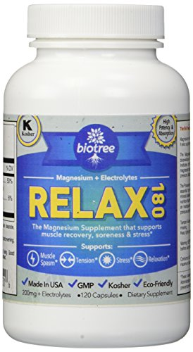 BioTree Labs Relax 180 - Magnesium and Potassium Supplement with Electrolytes that Relieves Muscle Pain, Spasms, and Tension and Provides Stress Relief