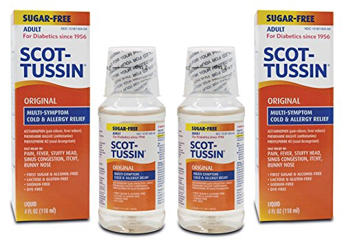 Scot-Tussin Original Multi Symptom Cold and Allergy Remedy with Fever Reducer, Sugar Free Liquid, 4 oz bottle, 2 pack