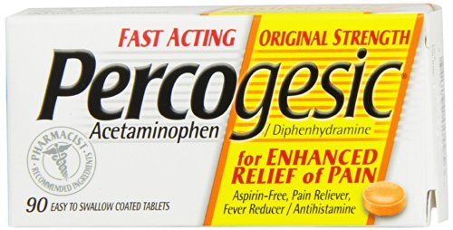 Percogesic Aspirin-Free Pain Reliever/Fever Reducer, Original, Easy to Swallow Coated Tablets, 90 coated tablets (Pack of 2)