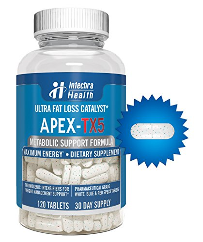 APEX-TX5 Ultra Fat Loss Catalyst - 120 Tablets - Pharmaceutical Grade Thermogenic Intensifier for Maximum Energy & Weight Loss - White Blue & Red Speck Tablets Made in USA in a GMP Certified Highest Quality Lab
