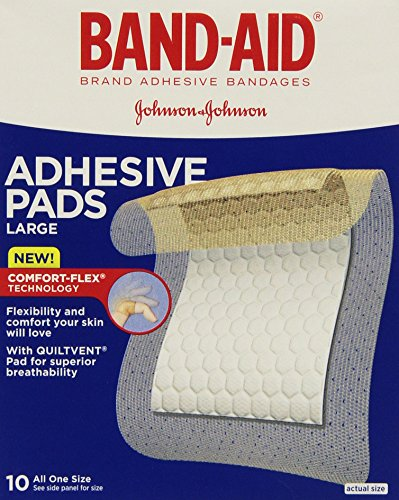 Band-Aid First Aid Pads, Adhesive Bandages, Large Adhesive Pads, 10 Count