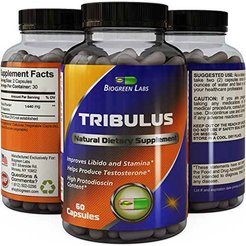 Tribulus Terrestris Extract - Pure Source of Energy (Extremely Potent Formula) - Increases Testosterone & Stamina Levels by 137{0ad59209ba3ce7f48e71d4a0dc628eee9b107ea7079661ded2b3bda89b047a8b} - Helps with Body Fat Loss, Muscle & Sleep Benefits - USA Made By Biogreen Labs