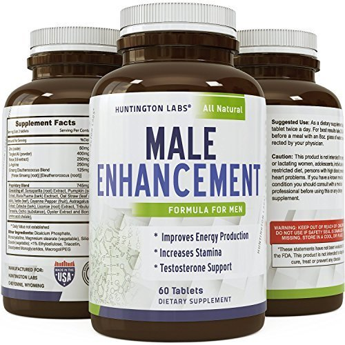 Potent Male Enhancement Supplement - Pure Maca + Tongkat Ali + Zinc - Increases Libido & Drive - Boosts Energy - Natural Testosterone Support - Premium Formula for Men - GMO Free - By Huntington Labs