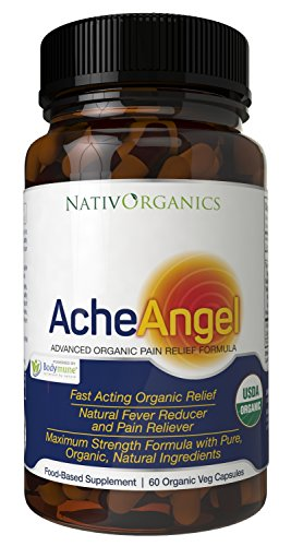 Natural Pain Reliever - USDA Organic Pain Relief For Headaches, Muscle Aches, Joint Pain, Arthritis - With Aloe Vera + Sea Buckthorn Berry - 60 Vegan Caps - All Natural Pain Killer - AcheAngel