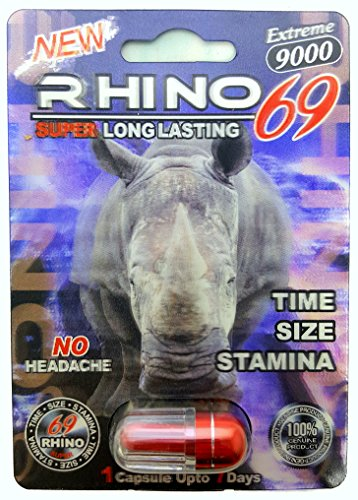 RHINO 69 EXTREME 9000 All Natural Male Enhancement Sex Pills - TIME - STAMINA - GIRTH (5 Pack)