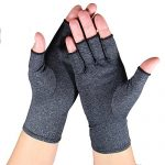Arthritis Gloves – Relief Finger Joint Pain, Compression Gloves for Arthritis in Hands – Arthritic Fingerless Gloves (Medium, Heather Grey)