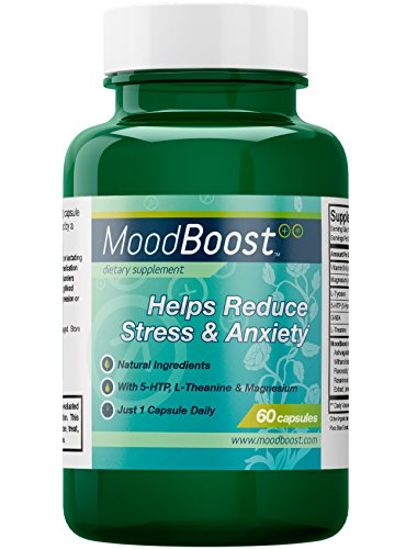 Mood Boost - Natural Supplement for Stress and Anxiety Relief - With 5-HTP, Magnesium, Passion Flower, L-Tyrosine and L-Theanine - 60 Vegetarian Capsules