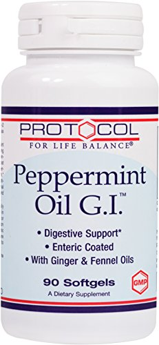 Protocol For Life Balance - Peppermint Oil G.I.- with Ginger & Fennel Oils - Supports Digestive System Health - 90 Softgels