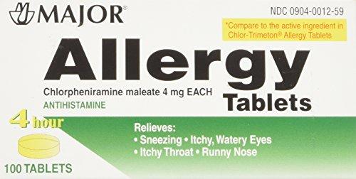 Major Pharmaceuticals Chlorpheniramine 4 mg Tablets, 100 Count