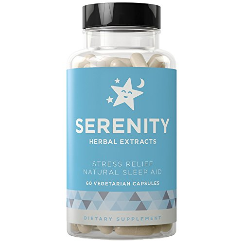 SERENITY Natural Sleep Aid and Stress Relief - Relaxes Mind from Anxiety, Fall Asleep Fast Without Waking Up Groggy - Non-Habit Forming - Magnesium, Valerian, Chamomile - 60 Vegetarian Soft Capsules