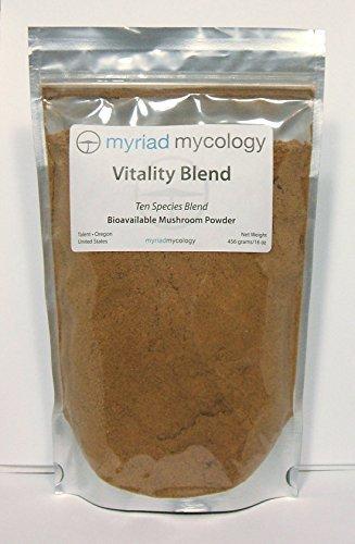 Myriad Mycology 10 Species Vitality Blend Mushroom Powder 16oz or 1lb, Made in USA, 456g