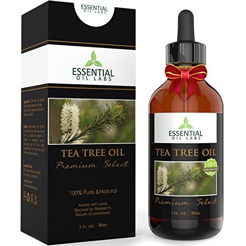 Tea Tree Oil - Therapeutic Grade 45{0ad59209ba3ce7f48e71d4a0dc628eee9b107ea7079661ded2b3bda89b047a8b} terpinen-4-ol (Australian) - 1fl oz with Glass Dropper - Premium Select from Essential Oil Labs