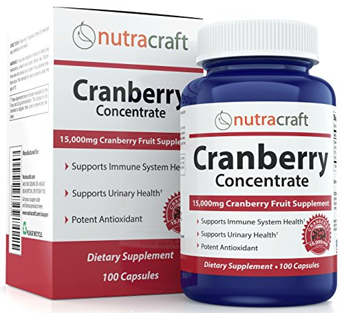 Triple Strength Cranberry Extract Supplement For Bladder & Urinary Tract Infection UTI Support - Extract Equal to 15,000 mg of Fresh Cranberries + Polyphenols per Capsule - 100 Capsules per Bottle