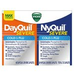 Vicks NyQuil Severe Cough Cold and Flu and DayQuil Severe Cough Cold and Flu Relief Caplets, Convenience Pack 24 Caplets