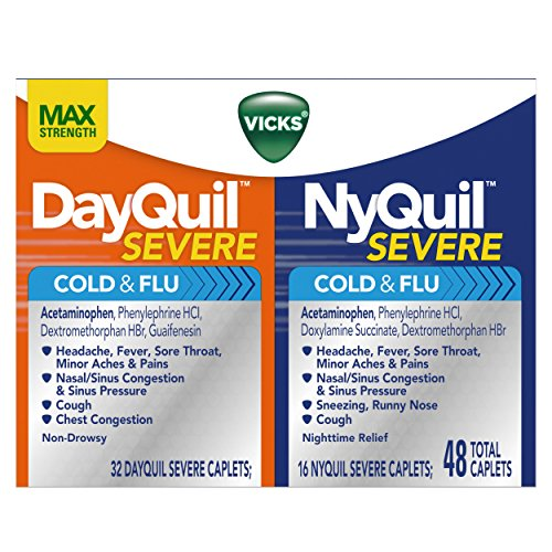 Vicks NyQuil Severe Cough Cold and Flu and DayQuil Severe Cough Cold and Flu Relief Caplets, Convenience Pack 48 Caplets