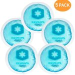 Round Reusable Gel Ice Packs With Cloth Backing – Great For: Wisdom Teeth, Breastfeeding, Tired Eyes, Kids Injuries, Headaches, Sinus Relief And More. Use As Hot Or Cold Packs (Blue – 5 Pack)