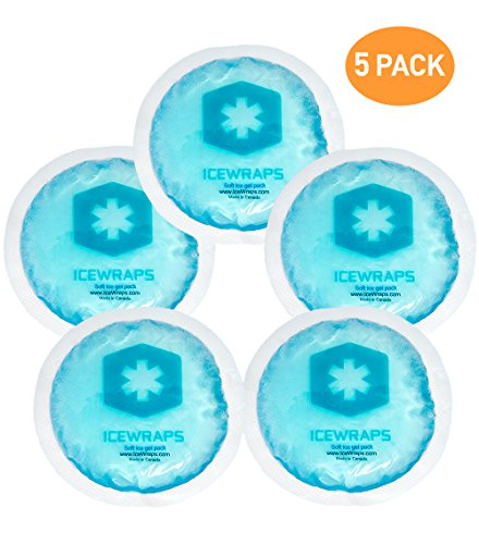 Round Reusable Gel Ice Packs With Cloth Backing - Great For: Wisdom Teeth, Breastfeeding, Tired Eyes, Kids Injuries, Headaches, Sinus Relief And More. Use As Hot Or Cold Packs (Blue - 5 Pack)