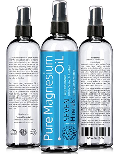 USP Grade MAGNESIUM OIL - BIG 12 oz - FREE eBook - Made in USA - SEE RESULTS OR - Best Cure for better Sleep, Leg Cramps, Restless Legs, Headaches, Migraines and more!
