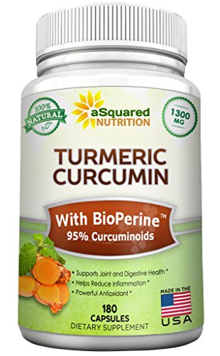 Pure Turmeric Curcumin 1300mg with BioPerine Black Pepper Extract - 180 Capsules - 95{0ad59209ba3ce7f48e71d4a0dc628eee9b107ea7079661ded2b3bda89b047a8b} Curcuminoids, 100{0ad59209ba3ce7f48e71d4a0dc628eee9b107ea7079661ded2b3bda89b047a8b} Natural Tumeric Root Powder Supplements, Natural Anti-Inflammatory Joint Pain Relief Pills