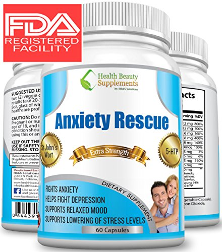 ** MEGA NATURAL ANXIETY RESCUE ** Premium Herbal Anxiety And Depression Aid - Simply The Best Stress & Anxiety Formula Ever Made - BEAT ANXIETY NATURALLY