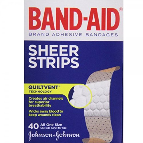 Band-Aid Brand Adhesive Bandages Sheer, All One Size, 40 Count