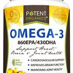 Potent Organics (Burpless) Omega-3 Fish Oil. Optimized EPA 860mg/DHA 430mg.180 Softgel Pills Infused With Lemon Oil.