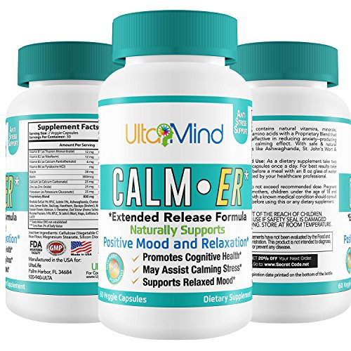 CALM-ER Anxiety Relief Supplement - Fast Acting Blend of Natural Herbs + B Vitamins To Improve Sleep, Lift Mood, Reduce Stress & Panic Attacks by Increasing Serotonin Levels - 60 ct Anti-Anxiety Pills