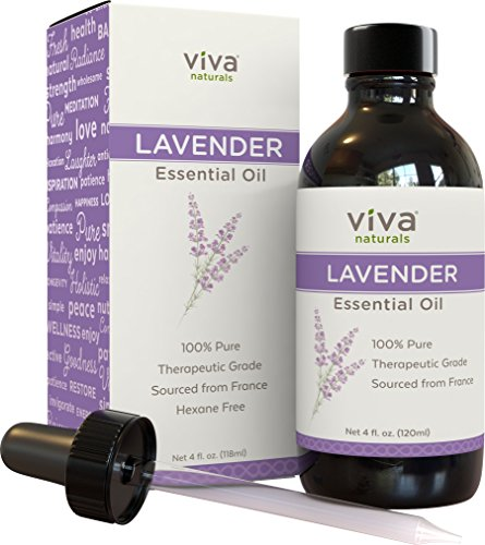 Viva Naturals French Lavender Essential Oil, 4 fl oz - 100{0ad59209ba3ce7f48e71d4a0dc628eee9b107ea7079661ded2b3bda89b047a8b} Pure & Therapeutic Grade for Relaxation, Sleep & Happy Mood