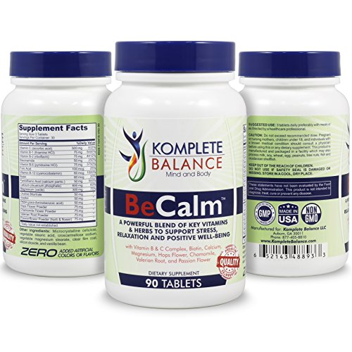BeCalm Soothing Stress Relief & Anti Anxiety Support Supplement, Herbal Blend Crafted To Support Mental Health, Keep Busy Minds Relaxed, Calm & Focused; B & C Vitamins, Chamomile, Valerian Root & More