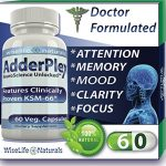 AdderPlex Best Organic Focus Energy Add Attention Boost Mood Increase Brain Memory Mental Cognitive Enhancer Anti – Stress Anxiety Depression Panic w Ashwagandha Ginkgo Ginseng Nerve Tonic Super Food
