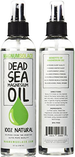 Magnesium Oil Spray 100{0ad59209ba3ce7f48e71d4a0dc628eee9b107ea7079661ded2b3bda89b047a8b} Pure From the Dead Sea - Large 8 oz Bottle LASTS SIX MONTHS - Made in USA - Exceptional #1 Therapeutic Source For Magnesium Chloride