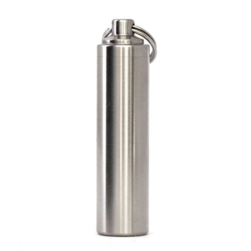 AKOAK 18/10 Stainless Steel Mini Metal Waterproof Pill Case with 4 Spare O-rings,Great for Outdoor Sports