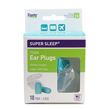 NEW! Super Sleep Comfort Foam Ear Plugs - 10 Pair + Carrying Case-Special Length for Sleeping on Your Side (Blue)