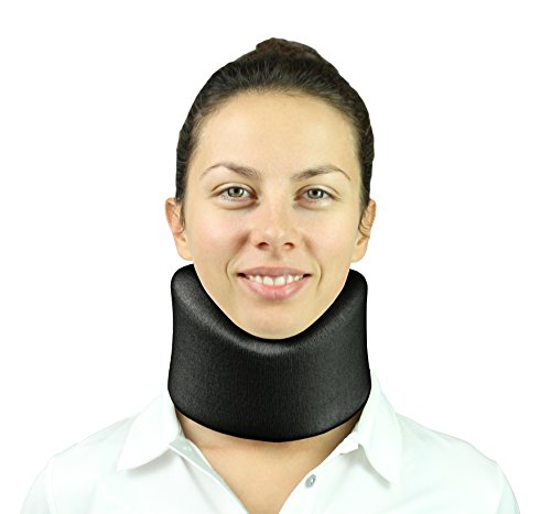Neck Brace by Vive - Cervical Collar - Adjustable Soft Support Collar Can Be Used During Sleep - Wraps Aligns & Stabilizes Vertebrae - Relieves Pain and Pressure in Spine - One-Size Fits Most (Black)