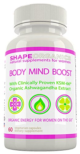 Shape Organics BODY MIND BOOST Energy Clarity Focus Concentration Mood Attention Brain and Nervous Anti Anxiety Stress Panic Depression Improve Memory Support w/ Ashwagandha DMAE Ginseng Bacopa Ginkgo